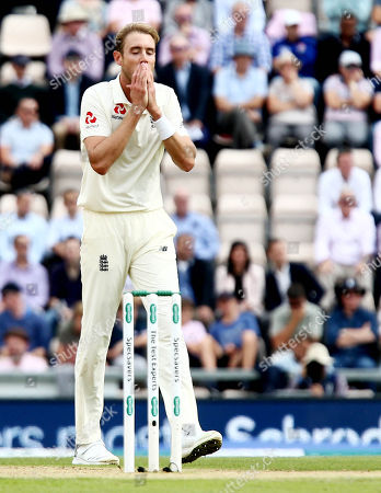 Stuart Broad of England looks frustrated after seeing his bowling go for two runs.