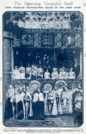 Photograph Showing King George V Seated On A Thrown That Was Specially Built For the Occasion Princess Mary Prince Albert Prince Henry and Prince George Are Seen in the Box Jut Behind the King. Photograph by Benjamin Stone in 'The Bystander', 28 June 1911, Page 651