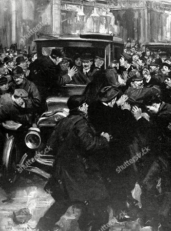 Illustration Showing A Crowd of Anti Home-rulers Attacking the Car Carrying Winston Leonard Spencer Churcill (1874-1965) Then First Lord of the Admiralty and His Wife As They Attempted to Drive Through Belfast to the Celtic Park Football Ground February 1912. Winston Churchill the English Statesman and Nobel Prize Winner Was One of the Most Influential British Politicians of the 20th Century Leading Britain During the Second World War. . 17th February 1912. Page 234. by Cyrus Cuneo.