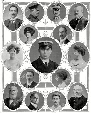 Notable Passengers On Board the Titanic: 1. Mr Bruce Ismay Chairman of the White Star Line Survivor. 2. Major A Peuchen of the Canadian Rifles Survivor. 3. Major A W Butt Aide-de-camp to President Taft. 4. Mr C M Hays President of the Grand Trunk Railway Died. 5. Mrs J J Astor Survivor. 6. Colonel J J Astor Multi-millionaire Died. 7. Lady Cosmo Duff-gordon Survivor. 8. Mr Jack Phillips Wireless Operator On the Titanic Died. 9. the Countess of Rothes Survivor. 10. Mr Daniel Marvin Son of the Head of A American Cinematograph Firm Died. 11. Mrs Daniel Marvin Survivor. 12. Mr W T Stead Journalist. 13. Mr Benjamin Guggenheim an American Banker and Multi-millionaire Died. 14. Mr Karl H Behr Lawn Tennis Player Survivor. 15. Mr Isidor Straus A Member of Congress and A Multi Millionaire Banker. the Illustrated London News. 20th April 1912. Main Pic. by N/a.