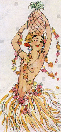 Stock Photo of A Colour Illustration of A Half Naked Lady Wearing A Hula Skirt and Decorated with Flowers. the Sketch. 4th May 1938. . by A. K. Macdonald.