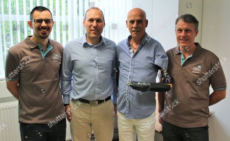 Technician Adam Lewis (L), prosthetist James Buckett, Alex Paterson and Chris Ball pictured at Dorset Orthopaedic clinic.