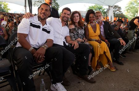 Stock Picture of The Have and Have Nots cast Members (L to R) Peter Parros, Aaron O'Connell, Renee Lawless, Crystal R. Fox and John Schneider attend A People's Tribute to the Queen at Chene Park in Detroit, Michigan, USA, 30 August 2018. Aretha Franklin, known as the Queen of Soul for many recording hits, died 16 August 2018 from pancreatic cancer and will be buried in Woodlawn Cemetery on 31 August. She was 76.