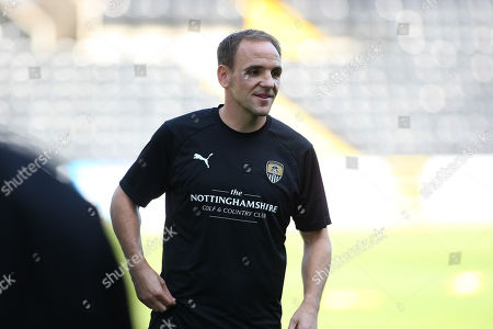 David Vaughan is all smiles during the warm up before kickoff against Forest Green