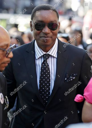 Former basketball player Isiah Thomas arrives at Greater Grace Temple for legendary singer Aretha Franklin's funeral in Detroit, . Franklin died Aug. 16 of pancreatic cancer at the age of 76
