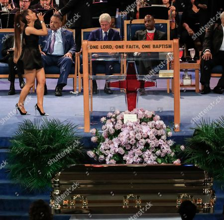 Ariana Grande performs during the funeral service for US singer Aretha Franklin at the Greater Grace Temple in Detroit, Michigan, USA, 31 August 2018. Aretha Franklin, known as the Queen of Soul for recording hits such as RESPECT, Chain of Fools and many others, died 16 August 2018 from pancreatic cancer and will be buried in Woodlawn Cemetery on 31 August.