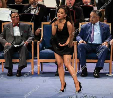 US singer Ariana Grande performs during the funeral service for US singer Aretha Franklin at  the Greater Grace Temple in Detroit, Michigan, USA, 31 August 2018. Aretha Franklin, known as the Queen of Soul for recording hits such as RESPECT, Chain of Fools and many others, died 16 August 2018 from pancreatic cancer and will be buried in Woodlawn Cemetery on 31 August.