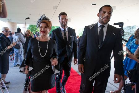 Cast members from the show The Have and Have Nots, (L to R) Renee Lawless, Aaron O-Connell and Peter Parros arrive at Greater Grace Temple in Detroit, Michigan, USA, 31 August 2018. Aretha Franklin, known as the Queen of Soul for many recording hits, died 16 August 2018 from pancreatic cancer and will be buried in Woodlawn Cemetery on 31 August. She was 76.