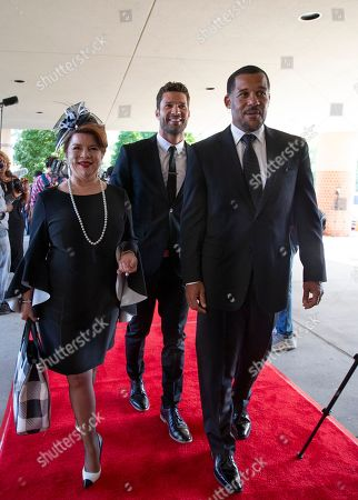 Cast members from the show The Have and the Have Nots, (L to R) Renee Lawless, Aaron O-Connell and Peter Parros arrive at Greater Grace Temple in Detroit, Michigan, USA, 31 August 2018. Aretha Franklin, known as the Queen of Soul for many recording hits, died 16 August 2018 from pancreatic cancer and will be buried in Woodlawn Cemetery on 31 August. She was 76.