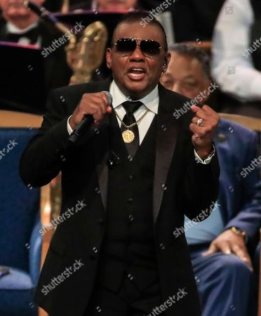 Stock Photo of Ron Isley sings during the funeral service for US singer Aretha Franklin at the Greater Grace Temple in Detroit, Michigan, USA, 31 August 2018. Aretha Franklin, known as the Queen of Soul for recording hits such as RESPECT, Chain of Fools and many others, died 16 August 2018 from pancreatic cancer and will be buried in Woodlawn Cemetery on 31 August.