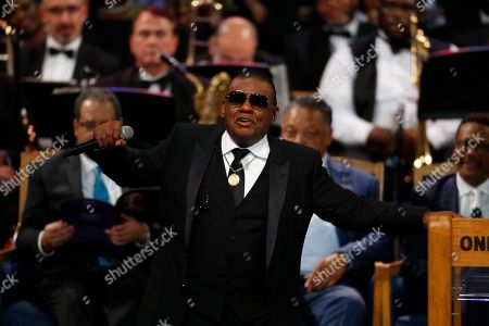 Stock Picture of Ron Isley performs during the funeral service for Aretha Franklin at Greater Grace Temple, in Detroit. Franklin died Aug. 16, 2018 of pancreatic cancer at the age of 76