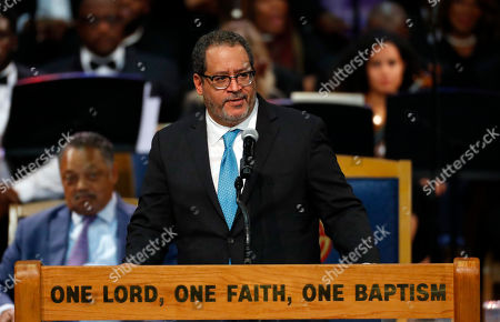 Michael Eric Dyson speaks during the funeral service for Aretha Franklin at Greater Grace Temple, in Detroit. Franklin died Aug. 16, 2018 of pancreatic cancer at the age of 76