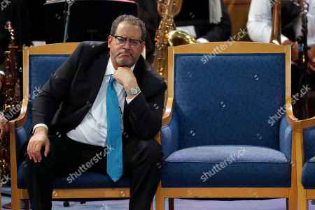 Michael Eric Dyson listens during the funeral service for Aretha Franklin at Greater Grace Temple, in Detroit. Franklin died Aug. 16, 2018 of pancreatic cancer at the age of 76