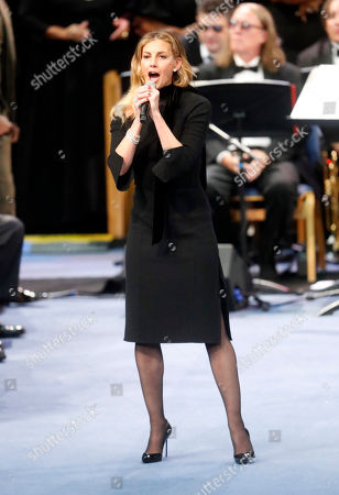 Stock Photo of Faith Hill performs during the funeral service for Aretha Franklin at Greater Grace Temple, in Detroit. Franklin died Aug. 16, 2018 of pancreatic cancer at the age of 76