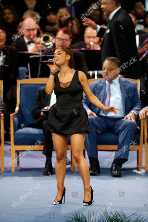 Ariana Grande performs during the funeral service for Aretha Franklin at Greater Grace Temple, in Detroit. Franklin died Aug. 16, 2018 of pancreatic cancer at the age of 76