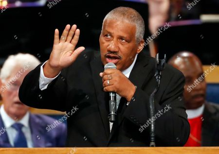 Stock Photo of Edward Franklin, son of Aretha Franklin, performs during the funeral service for his mother at Greater Grace Temple, in Detroit. Franklin died Aug. 16, 2018 of pancreatic cancer at the age of 76