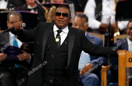 Ron Isley performs during the funeral service for Aretha Franklin at Greater Grace Temple, in Detroit. Franklin died Aug. 16, 2018 of pancreatic cancer at the age of 76