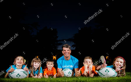 Stock Image of UNICEF Ambassador Donncha O'Callaghan announces his November 16 Testimonial Gala Dinner with avid fans; Holly & Mia Varela, Aoibhie Freeney, Philip Kavanagh and Jack Flanagan. Donncha is gifting all monies raised from this special event to UNICEF