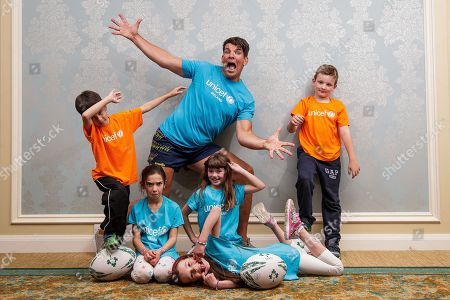 Stock Photo of UNICEF Ambassador Donncha O'Callaghan announces his November 16 Testimonial Gala Dinner with avid fans; Holly & Mia Varela, Aoibhie Freeney, Philip Kavanagh and Jack Flanagan. Donncha is gifting all monies raised from this special event to UNICEF