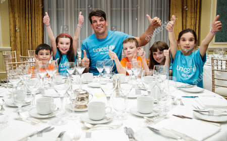 Stock Picture of UNICEF Ambassador Donncha O'Callaghan announces his November 16 Testimonial Gala Dinner with avid fans; Holly & Mia Varela, Aoibhie Freeney, Philip Kavanagh and Jack Flanagan. Donncha is gifting all monies raised from this special event to UNICEF