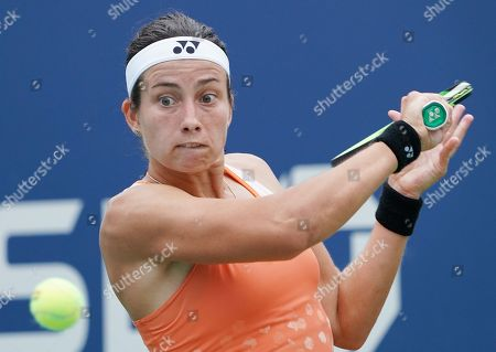 Anastasija Sevastova of Latvia hits a return to Ekaterina Makarova of Russia during the fifth day of the US Open Tennis Championships the USTA National Tennis Center in Flushing Meadows, New York, USA, 31 August 2018. The US Open runs from 27 August through 09 September.