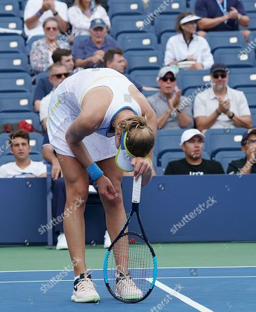Ekaterina Makarova of Russia reacts as she plays Anastasija Sevastova of Latvia  during the fifth day of the US Open Tennis Championships the USTA National Tennis Center in Flushing Meadows, New York, USA, 31 August 2018. The US Open runs from 27 August through 09 September.