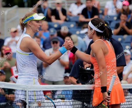 Anastasija Sevastova, Ekaterina Makarova. Anastasija Sevastova, of Latvia, right, shakes hands with Ekaterina Makarova, of Russia, after Sevastova defeated Makarova during the third round of the U.S. Open tennis tournament, in New York