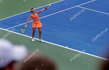 Anastasija Sevastova, of Latvia, serves to Ekaterina Makarova, of Russia, during the third round of the U.S. Open tennis tournament, in New York