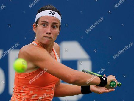 Anastasija Sevastova, of Latvia, returns a shot to Ekaterina Makarova, of Russia, during the third round of the U.S. Open tennis tournament, in New York