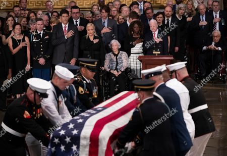 Sidney McCain, Jimmy McCain, Andrew McCain, Meghan McCain, Roberta McCain. The flag-draped casket bearing the remains of Sen. John McCain of Arizona, who lived and worked in Congress over four decades, is carried into the U.S. Capitol rotunda for a farewell ceremony and public visitation, in Washington. Family members are, from left, daughter Sidney McCain, son Jimmy McCain, son Andrew McCain, daughter Meghan McCain, and his 106-year-old mother Roberta McCain