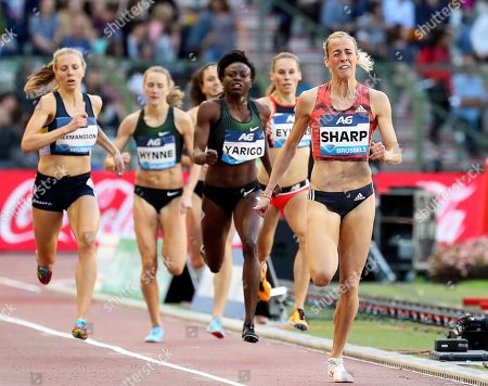 Lynsey Sharp (R) of Britain is on her way to win the women's  800m race at the Memorial Van Damme IAAF Diamond League international athletics meeting in Brussels, Belgium, 31 August 2018.