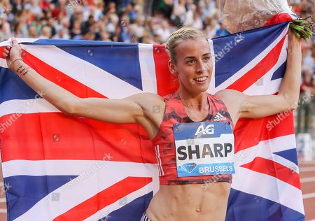 Lynsey Sharp of Britain celebrates after winning the women's 800m race at the Memorial Van Damme IAAF Diamond League international athletics meeting in Brussels, Belgium, 31 August 2018.