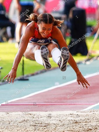 Jazmin Sawyers of Britain in action during the women's Long Jump event at the Memorial Van Damme IAAF Diamond League international athletics meeting in Brussels, Belgium, 31 August 2018.