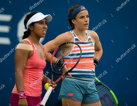 Nicole Gibbs & Sabrina Santamaria of the United States playing doubles at the 2018 US Open Grand Slam tennis tournament