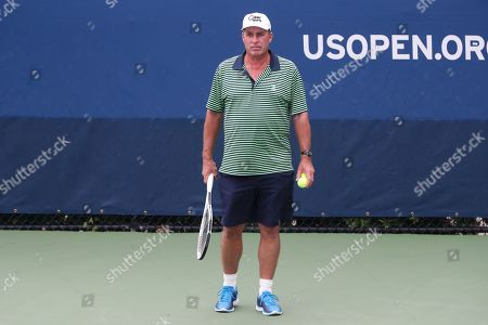 Ivan Lendl on the practice courts