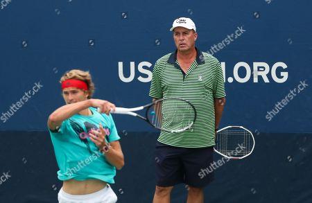 Ivan Lendl coaches Alexander Zverev on the practice courts
