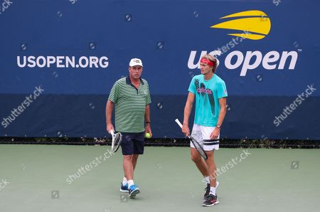 Alexander Zverev and his coach Ivan Lendl on the practice courts