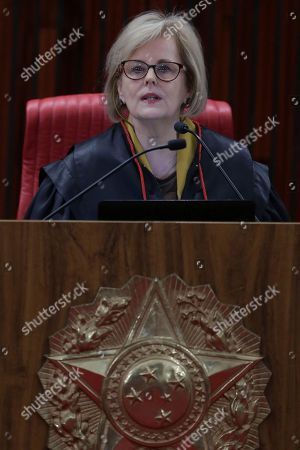 Brazil's President of the Superior Electoral Court Rosa Weber speaks during a the trial against the candidacy of jailed former president da Luis Inacio Lula da Silva, in Brasilia, Brazil, . Brazil's general elections will be held on October 7