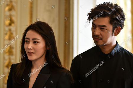 Taiwanese actor Chen Bolin and chinese actress Zhang Tian'ai at Bordeaux city hall