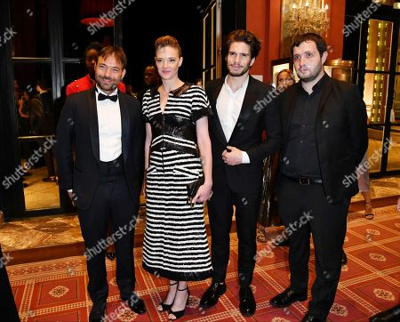Hubert Charuel, Kate Moran, Francois Civil, Karim Leklou attend the Opening Ceremony Dinner of the 44th Deauville American Film Festival