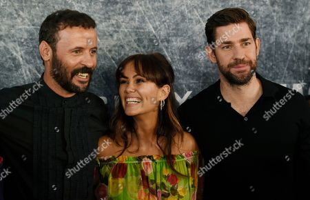 "John Krasinski, Dina Shihabi, Ali Suliman. John Krasinski, right, star of ""Tom Clancy's Jack Ryan,"" poses alongside fellow cast members Ali Suliman, left, and Dina Shihabi at the premiere of the Amazon Prime Video television series at the Port of Los Angeles, in Los Angeles"