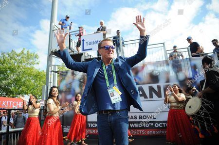 Ex England player and now BBC TMS commentator Phil Tufnell take part in a Bollywood dance Routine with Southampton University Indian Dance Society during the third day of the 4th SpecSavers International Test Match 2018 match between England and India at the Ageas Bowl, Southampton