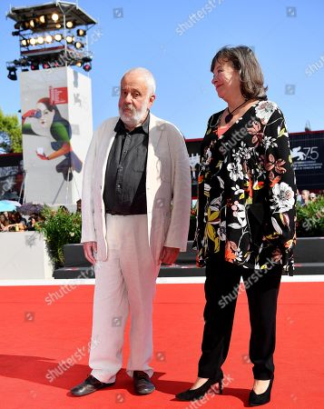 British director Mike Leigh (L) and British actress Marion Bailey (R) arrive for the premiere of  'Peterloo' at the 75th annual Venice International Film Festival, in Venice, Italy, 01 September 2018.The movie is presented in the official competition 'Venezia 75' at the festival running from 29 August to 08 September.