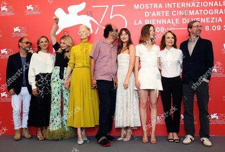 (L-R) Thom Yorke,a guest, Chloe Grace Moretz, Tilda Swinton, Luca Guadagnino, Dakota Johnson,Mia Goth, Jessica Harper,guests and David Kajganich pose with all cast during a photocall for 'Suspiria' during the 75th annual Venice International Film Festival, in Venice, Italy, 01 September 2018. The movie is presented in the official competition 'Venezia 75' at the festival running from 29 August to 08 September 2018.