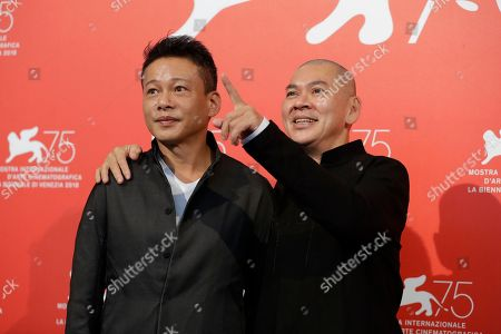 Tsai Ming-liang, Lee Kang-sheng. Director Tsai Ming-liang, right, and actor Lee Kang-sheng pose for photographers at the photo call for the film 'Your Face' at the 75th edition of the Venice Film Festival in Venice