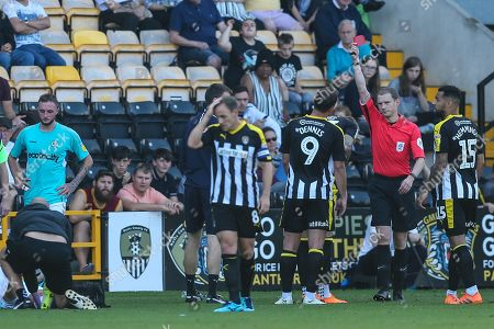 Notts County's Daniel Jones(23) is shown a red card, sent off during the EFL Sky Bet League 2 match between Notts County and Forest Green Rovers at Meadow Lane, Nottingham