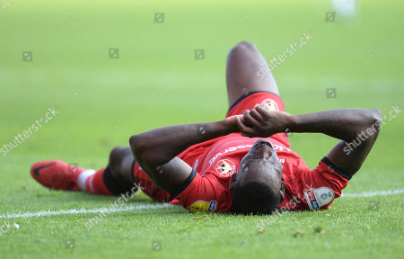 Isaiah Osbourne of Walsall rues a missed chance on goal