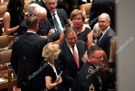 Former Defense Secretary Leon Panetta arrives for memorial services for Sen. John McCain, R-Ariz., at Washington Nationals Cathedral in Washington, . McCain died Aug. 25, from brain cancer at age 81