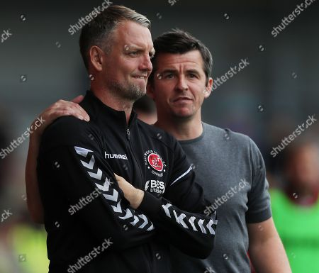 Stock Photo of Fleetwood Town manager Joey Barton and Clint Hill
