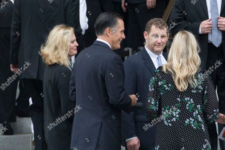 Former Republican presidential candidate Mitt Romney (C) and his wife Ann Romney (L) arrive for a funeral service for John McCain at the Washington National Cathedral in Washington, DC, USA, 01 September 2018.  McCain died 25 August 2018 from brain cancer at his ranch in Sedona, Arizona, USA. He was a veteran of the Vietnam War, served two terms in the US House of Representatives, and was elected to five terms in the US Senate. McCain also ran for president twice, and was the Republican nominee in 2008.